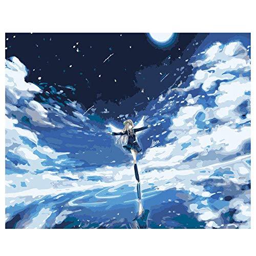 zeo Qi Lin Zou Decorazioni Regali Dipingere con Numeri Fai da Te Pittura a Olio Paesaggio Dipinto a Mano Raccolta Fattoria 40x50cm-Cornice in Legno