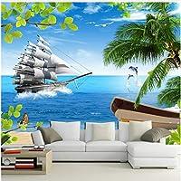 Xbwy 装飾壁画寝室のリビングルームの装飾のための壁海景ヨット壁装材のエンボス壁画壁紙-280X200Cm