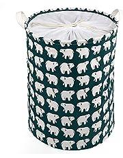 LEADSTAR Stor tvättkorg hopfällbar tvättkorg dragsko vattentät förvaringskorgar rund bomull linne smutsiga klädkorg (björn)