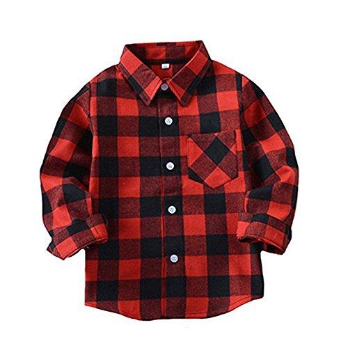 Happy GoGo Kid Girl Boy Long Sleeve Button Down Plaid Flannel Shirt (Red-Black, 2T)