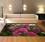 CQIIKJ Alfombra Estampada Flor de peonía roja Rosa Verde Alfombra Antideslizante Duradera, Lavable, Suave, 80 x 160 cm Alfombras para Sala de Estar,Dormitorio,