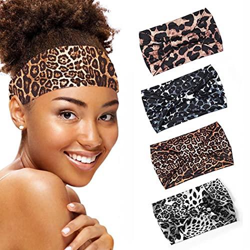 Zoestar Boho, diademas de leopardo, color negro, para yoga, turbante ancho, diademas, elegantes bandas elásticas para el cabello, bufandas gruesas,para mujeres y niñas (paquete de 4)