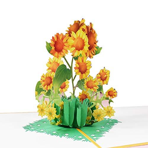 Xiaorong Hecho a mano flor 3D Pop Up tarjeta de agradecimiento Tarjetas de Acción de Gracias Día de la Madre Tarjetas de regalo de felicitación con sobre para mamá