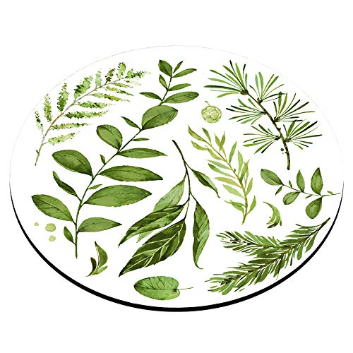 Smooffly Circular Mouse pad, Watercolor Leaves Mousepad, Wild Leaf Mouse pad, Round Mouse pad, Office Decor, Coworker Gift, Gift for Friend, Desk Accessories Photo #3