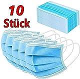 10 Stück Einweg 3 lagig Maske Gesichtsmaske Vlies Einwegmaske Mundschutz Staubschutz mit Ohrschlaufen