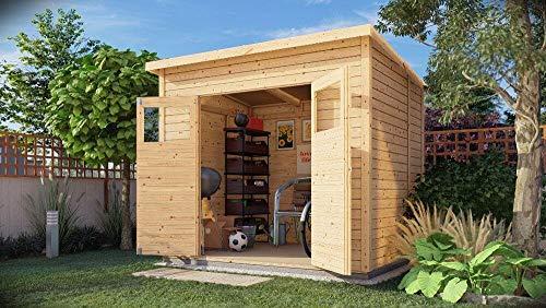 Alpholz Gerätehaus Mollie aus Fichten-Holz | Gartenhaus mit 14mm Wandstärke | Holzhaus inklusive Montagematerial | Geräteschuppen Größe: 251 x 199 cm | Pultdach