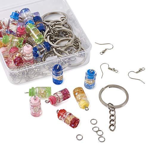 27 piezas de resina de cristal que desean botellas de abalorios con 30 anillos de salto, 18 ganchos para pendientes, 9 llaveros para joyería, manualidades