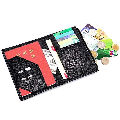 パスポートケース 牛革 出張用 パスポートホルダー スキミング防止 パスポートカバー 海外旅行 高級本革 カードケース 多機能収納 大容量 パスポートポーチ (ブラック)