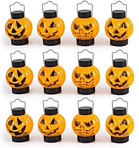 1 Docena De Linternas De Calabaza Iluminadas Para Los Mejores Accesorios De Decoración De Halloween