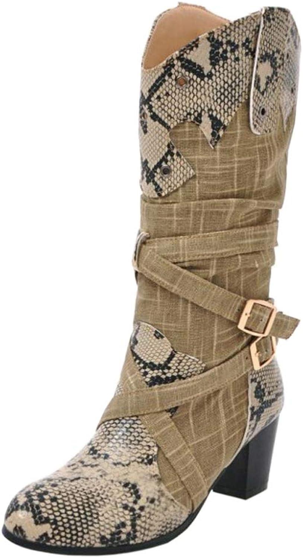 AicciAizzi Women Block Heel Mid Calf Boots Western