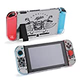 SUPNON Switch Case Compatible with Nintendo Switch Games Protective Hard Carrying Cover Case for Nintendo Switch Console Joy Con Controlle - Motorcycle, Wings and Ribbon On Grange Design28916