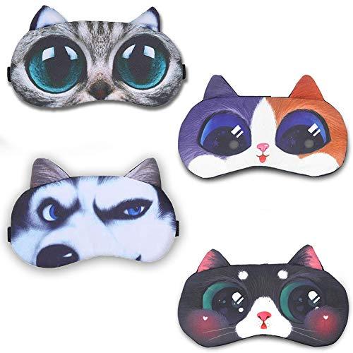 JAHEMU Schlafmaske Kinder Frauen Mädchen Augenmaske Baumwolle Sleep Mask Cat Dog für Schlafen Reisen Party, 4 Stück