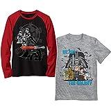 LEGO Boys' Long Short Sleeve Graphic Tee Shirt 2 Pack Set, Black/Grey, 4