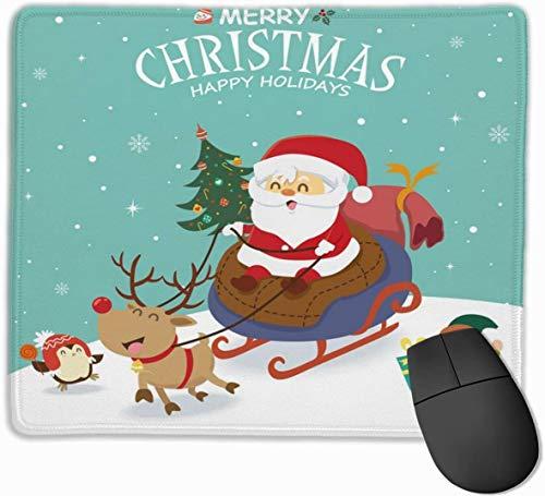 Papá Noel en trineo con Snowman Hustle Mouse Pad para computadora portátil Rectangular Antideslizante Gaming Mousepad Home Office Computer Pink