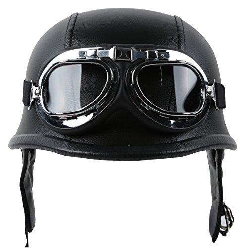 TCT-MT DOT Helmet+Goggles Adult Motorcycle German Leather Half Face Helmet with Biker Pilot Goggles Large Black Cruiser Touring Scooter Helmets