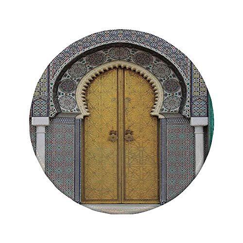 Rutschfreies Gummi-rundes Mauspad arabisch goldene Tür des Königspalastes in FES Marokko Vintage marokkanische Kunstwerk Mosaik-Stil mehrfarbig 7.9