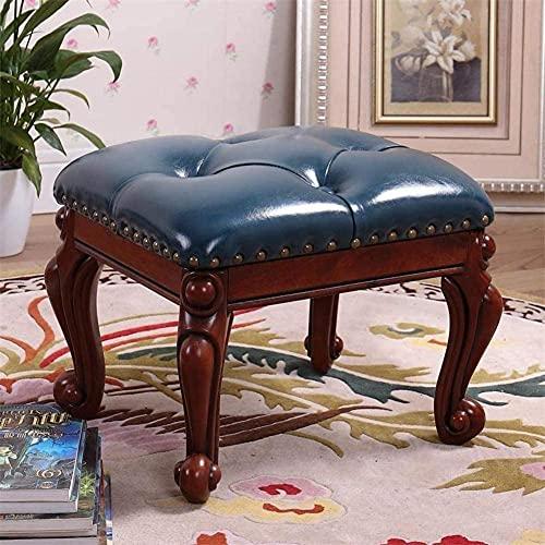HKAFD Reposapiés tapizado de piel sintética de lujo, reposapiés con botón 4 patas de madera talladas, pequeño reposapiés tapizado, sofá vintage otomanos, taburete de café