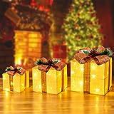 CCLIFE LED accendere Decorativa Natale Pacco Regalo Box Set dimmerabile, 3 Pezzi, Scatola Regalo LED, Illuminazione Decorativa, Colore:D: beige + marrone, poliestere