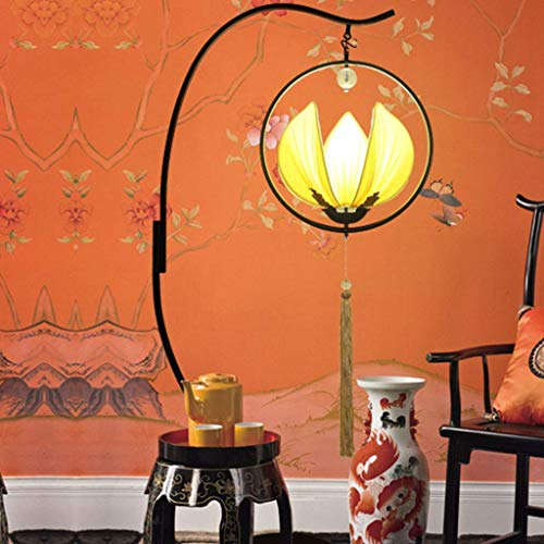 BBG Living Room,Hotel,Bedroom,Floor Lamps Chinese Style Cloth Ornament Floor Light for Living Room Restaurant Led Arc Anti-Rust Tall Vertical Floor Lamp (Color Yellow),Yellow