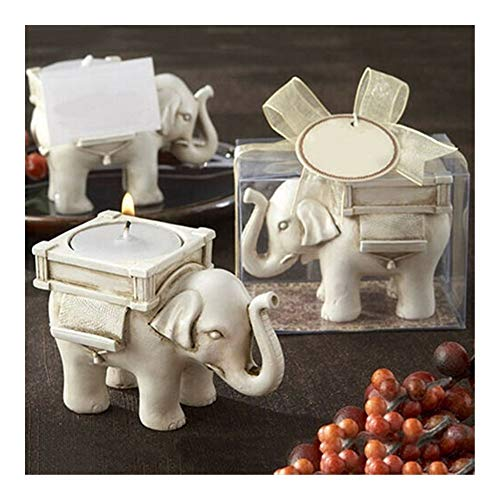 Candlestick Retro Elephant Tea Light Candle Holder Home Decoration (Color : White)