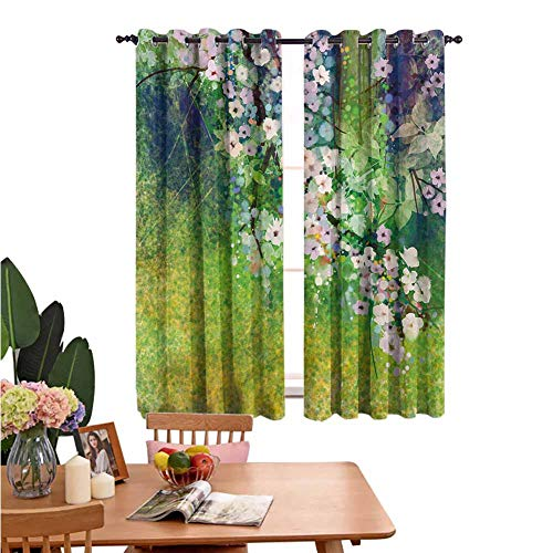 Flower Grommet Window Curtain Traditional Multicolored Japanese Cherry Blossom Sakura Tree Petals Grass Land Paint Thermal Insulated Grommet for Living Room 55'x45' Pink Green