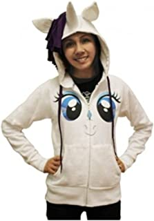 Rarity Face Juniors White Costume Hoodie with Mane & Horn