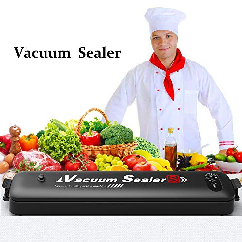 Vacuum Sealer Machine, Automatic Food Sealer Air Sealing Systemfor Food Savers/Starter Kit,with Led Indicator Lights and 15 Pack Bags-Easy to Clean