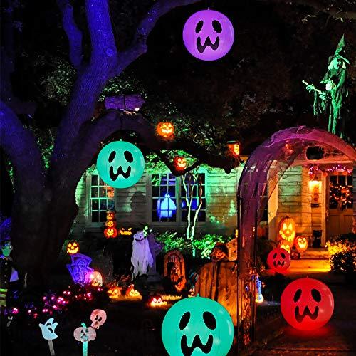 Halloween Deko Aufblasbar, WeyTy Halloween Geist Aufblasbare Lichter, 16in Aufblasbar Geisterlampe mit Multicolor RGB Beleuchtet und Fernbedienung, LED Ghostdecoration für Halloween Deko Garten