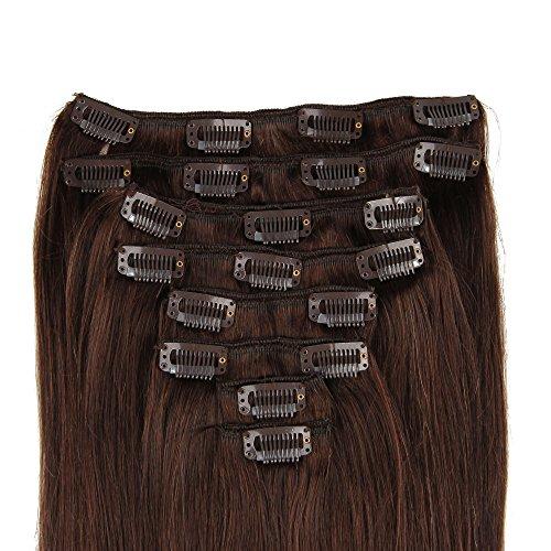 Beauty7 Extensions de Cheveux a Clips humains 100% Remy Hair #2 Brun Longueur 70 cm Poids 120 grams
