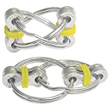 ZJT 2 Packs Flippy Chain Fidget Toys, Stress Relief Finger Fidget Toys Stainless Steel Fidget Rings Toys,Bike Chain Fidget Stress Reducer,Suitable for People with ADHD, Anxiety and Autism (Yellow)