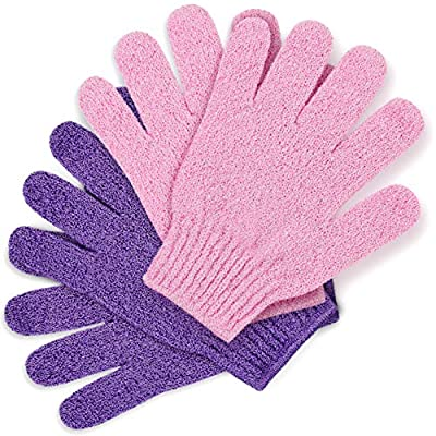 Temple Spring Bamboo Exfoliating Wash Gloves, 2 Pairs, Eco Exfoliator Mitts, Natural Bath/Shower Scrub, Body Exfoliation Hand Mitten, Beauty Scrubs/Loofah, Ingrown Hair/Dead Skin Remover (Pink/Purple)