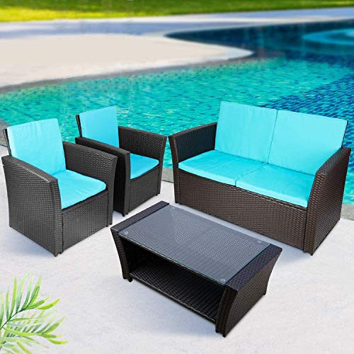 TUSY 5 Piece Patio Outdoor Furniture Set All Weather Rattan Chair Conversation Sets Sofa with Table, Indoor Outdoor Sofas, Washable Blue Couch Cushion