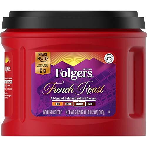 Folgers French Roast Ground Coffee, Medium-Dark Roast, 24.2 Ounce (1 Count)
