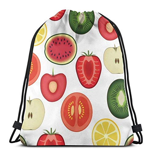 BXBX Plegable Bags Fruit Seamless Pattern Festival Shoulder Bag Swimming Bag PE Bag Dance Bag Drawstring Bags