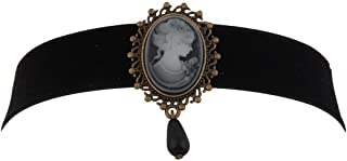 KUIYAI Black Choker Necklace with Victorian Cameo Pendant and Black Bead