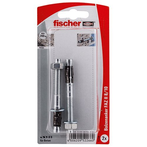 Fischer 52266 FAZ II 8/10 K Bolt Anchor - Multi-Colour (2-Piece) by Fischer