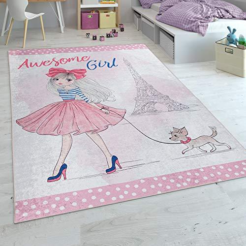 Alfombra Infantil, Tejido Plano para Habitación Infantil, Estampado Niñas Y Print, En Rosa, tamaño:80x150 cm