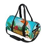 Emoya Barrel Sporttasche Tropische Sommerpflanzen Blumen Sonnenschutz Gym Tasche für Männer und Frauen