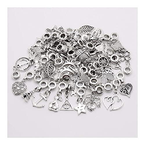 50 piezas/lote de colgante retro de cuentas sueltas de agujero grande adecuado para pulsera DIY fabricación de joyas de metal