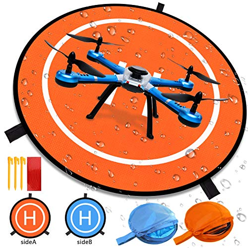Drone Landing Pad Glow in The Dark Waterproof 75cm/30'' Universal Landing Pad Accessories Fast-fold Double Sided Quadcopter Landing Pad for RC Drones Helicopter PVB Drones DJI Mavic Pro Spark