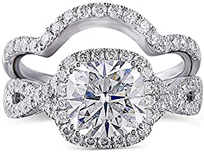 DovEggs Platinum Plated Silver Center 2ct 7.5X7.5mm G-H-I Color Cushion Cut Created Moissanite Halo Engagement Ring Bridal Set 2 Pieces