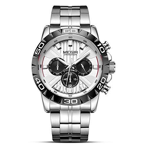 AZPINGPAN Reloj cronógrafo Deportivo analógico Relojes Militares para Hombres Impermeable Minimalista Casual Relojes de Acero Inoxidable para Hombres Reloj de Pulsera de Cuarzo con Fecha automática