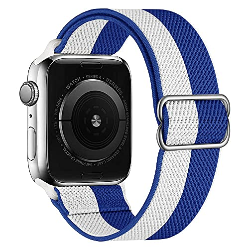 Nylon Loop Compatible with Apple Watch Band 44mm 42mm 40mm 38mm, Adjustable Elastic Women Men Wristband Stretchy Braided Strap for iWatch SE Series 6/5/4/3/2/1