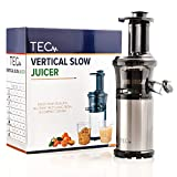 TEC Slow Masticating Juicer - Portable, Compact, Lightweight Cold Press Juicer; Easy to Set Up & Clean; Plus a Powerful, Quiet 200 W Motor [Includes a 99.99% Pulp Free Strainer]