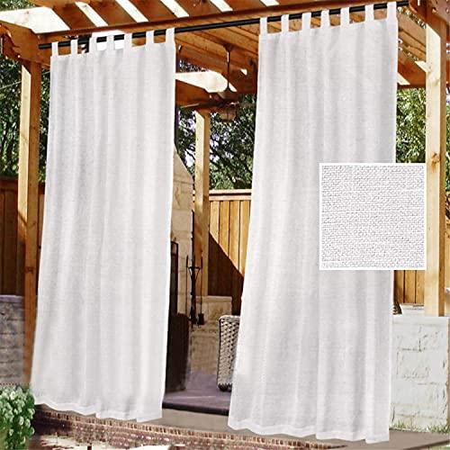 Cortinas De Exterior, Parte Superior Con Lengüeta Adhesiva Desmontable Para Colgar Y Desenganchar Fácilmente,impermeable Cubierta De Cortina Blanca Transparente, 2 Paneles (2x 132x240 cm,Blanco)