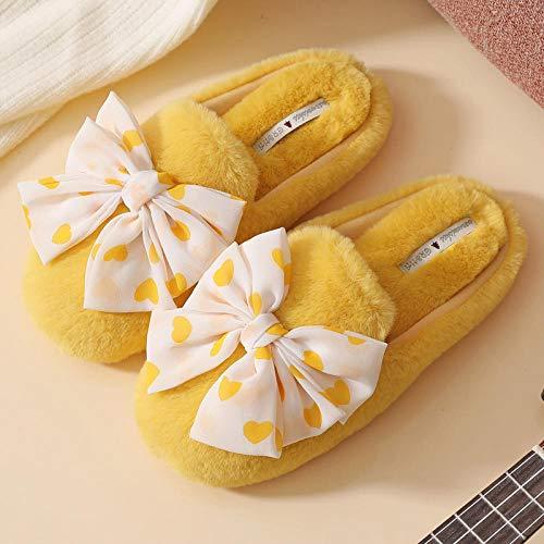 Kirin-1 Pantuflas Hombre Divertidas,Zapatillas de algodón con sensación de Mierda casa de Mujer Felpa Rosa otoño e invierno-40-41_Amarillo