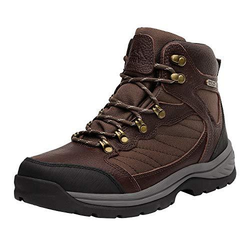NORTIV 8 Men's Waterproof Hiking Boots Mid Ankle Hiker Mountaineering Trekking Work Boots Brown Litchi Size 11 M US Skyline