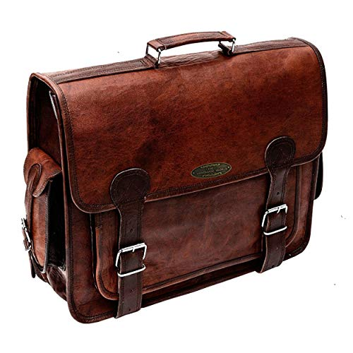 Handmade World Brown Leather Messenger Bag For Men 18 Inch Big Women Shoulder Cross Body Brown Laptop Computer Briefcase Bag - Best Vintage Look