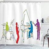 abby-shop Musik-Duschvorhang, vibrierende farbige Jazz-Band-Instrumente Moderne Illustration Retro-Art-Musik-Kunstdruck, Weiß-Grün