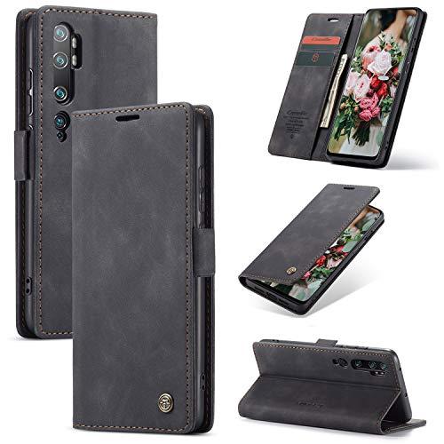 FMPC Handyhülle für Xiaomi Mi Note 10 Premium Lederhülle PU Flip Magnet Hülle Wallet Klapphülle Silikon Bumper Schutzhülle für Xiaomi Mi Note 10 Pro Handytasche - Schwarz